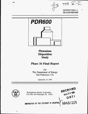 Primary view of object titled 'Plutonium disposition study phase 1b final report'.