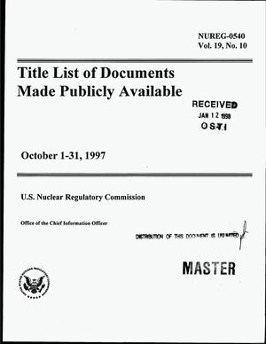 Primary view of object titled 'Title list of documents made publicly available, October 1-31, 1997'.