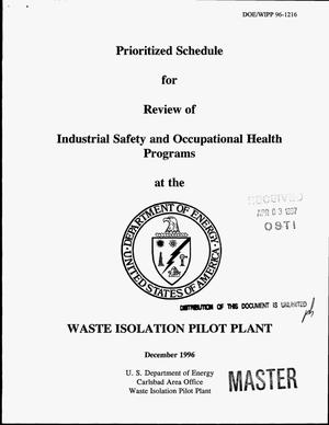 Primary view of object titled 'Prioritized schedule for review of industrial safety and occupational health programs'.