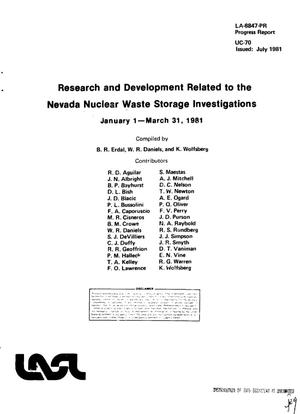 Primary view of object titled 'Research and development related to the Nevada Nuclear Waste Storage Investigations. Progress report, January 1-March 31, 1981'.