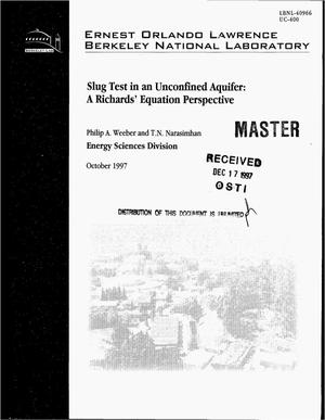 Primary view of object titled 'Slug test in an unconfined aquifer: A Richards` equation perspective'.