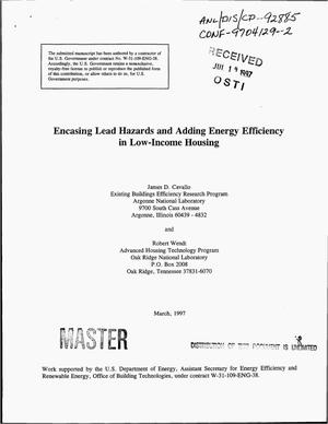 Primary view of object titled 'Encasing lead hazards and adding energy efficiency in low-income housing'.
