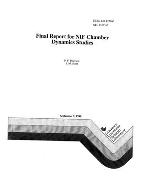 Primary view of object titled 'Final report for NIF chamber dynamics studies'.