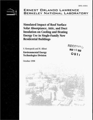 Primary view of object titled 'Simulated Impact of Roof Solar Absorptance, Attic, and DuctInsulation, and Climate on Cooling and Heating Energy Use inSingle-Family Resi dential Buildings'.