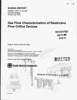 Primary view of object titled 'Gas flow characterization of restrictive flow orifice devices'.