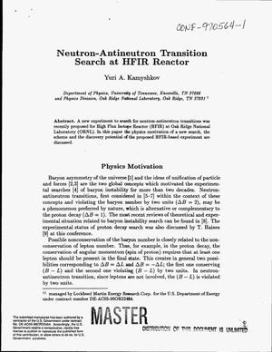 Primary view of object titled 'Neutron-antineutron transition search at HFIR Reactor'.