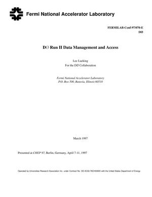 Primary view of object titled 'D-Zero run II data management and access'.