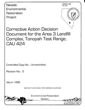 Primary view of object titled 'CORRECTIVE ACTION DECISION DOCUMENT FOR THE AREA 3 LANDFILL COMPLEX, TONOPAH TEST RANGE, CAU 424, REVISION 0, MARCH 1998'.