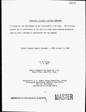 Primary view of object titled 'Adhesives, fillers and potting compounds. Second progress report, December 1, 1967--April 1, 1968'.