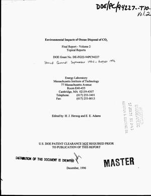 Primary view of object titled 'Environmental impacts of ocean disposal of CO{sub 2}. Final report volume 2, September 1994--August 1996'.