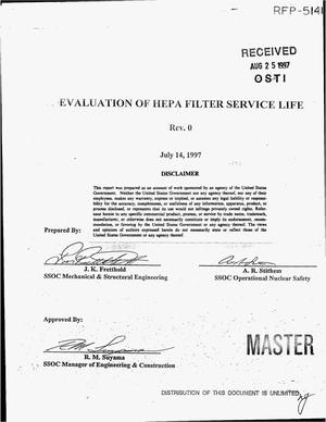Primary view of object titled 'Evaluation of HEPA filter service life'.