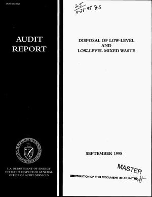 Primary view of object titled 'Disposal of low-level and low-level mixed waste: audit report'.