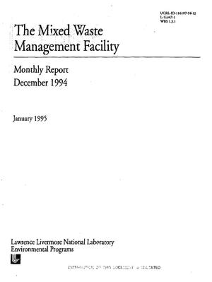 Primary view of object titled 'The Mixed Waste Management Facility monthly report, December 1994'.