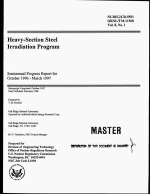 Primary view of object titled 'Heavy-section steel irradiation program. Semiannual progress report, October 1996--March 1997'.