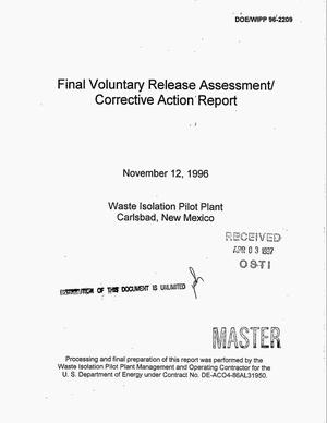Primary view of object titled 'Final voluntary release assessment/corrective action report'.