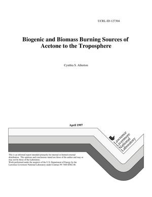Primary view of object titled 'Biogenic and biomass burning sources of acetone to the troposphere'.