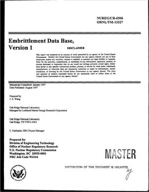 Primary view of object titled 'Embrittlement data base, version 1'.