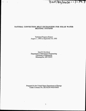 Primary view of object titled 'Natural convection heat exchangers for solar water heating systems. Technical progress report, August 1, 1995--September 30, 1995'.