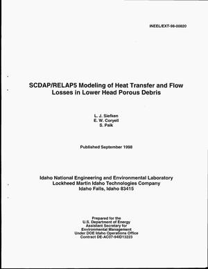 Primary view of object titled 'SCDAP/RELAP5 Modeling of Heat Transfer and Flow Losses in Lower Head Porous Debris'.