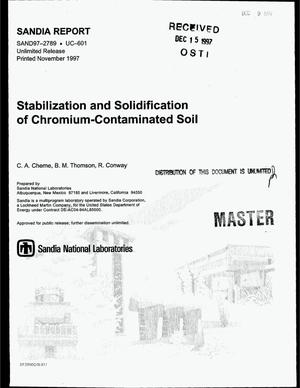Primary view of object titled 'Stabilization and solidification of chromium-contaminated soil'.
