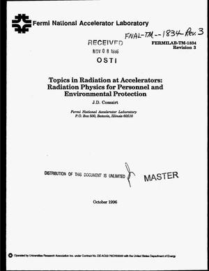 Primary view of object titled 'Topics in radiation at accelerators: Radiation physics for personnel and environmental protection'.