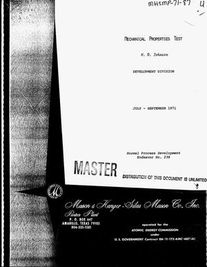 Primary view of object titled 'Mechanical properties test. Quarterly report, July 1971--September 1971'.