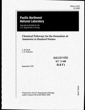 Primary view of object titled 'Chemical pathways for the formation of ammonia in Hanford wastes'.