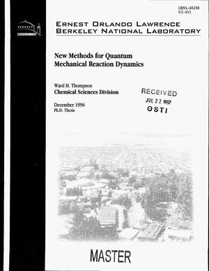 Primary view of object titled 'New methods for quantum mechanical reaction dynamics'.