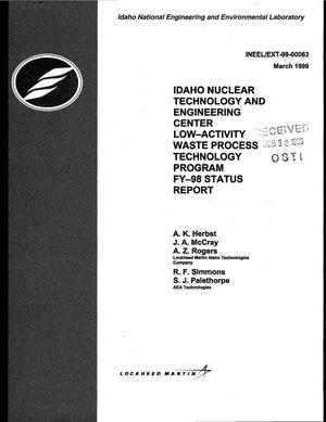 Primary view of object titled 'Idaho Nuclear Technology and Engineering Center Low-Activity Waste Process Technology Program, FY-98 Status Report'.