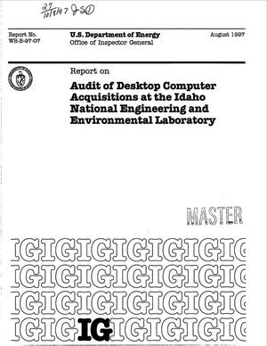 Primary view of object titled 'Audit of desktop computer acquisitions at the Idaho National Engineering and Environmental Laboratory'.