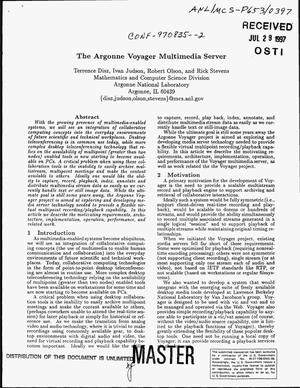 Primary view of object titled 'The Argonne Voyager multimedia server'.
