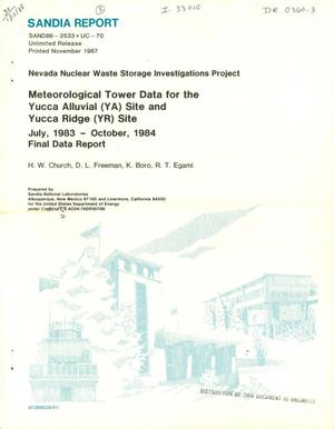 Primary view of object titled 'Meteorological tower data for the Yucca Alluvial (YA) site and Yucca Ridge (YR) site: Final data report, July 1983-October 1984'.