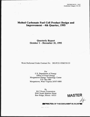 Primary view of object titled 'Molted carbonate fuel cell product design and improvement - 4th quarter, 1995. Quarterly report, October 1, 1995--December 31, 1995'.