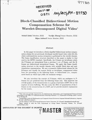 Primary view of object titled 'Block-classified bidirectional motion compensation scheme for wavelet-decomposed digital video'.