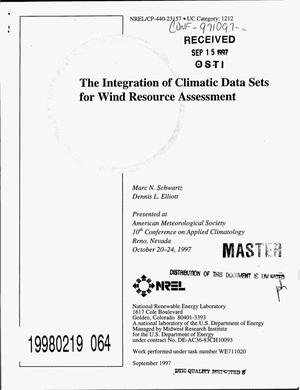 Primary view of object titled 'The integration of climatic data sets for wind resource assessment'.