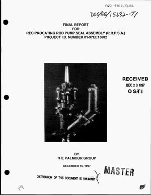 Primary view of object titled 'Final report for reciprocating rod pump seal assembly (R.R.P.S.A.)'.