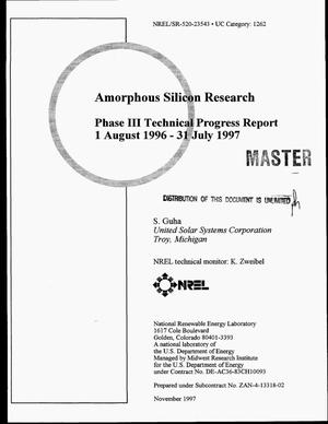 Primary view of object titled 'Amorphous silicon research. Phase III technical progress report, August 1, 1996--July 31, 1997'.