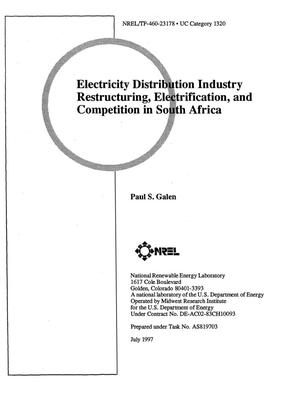 Primary view of object titled 'Electricity distribution industry restructuring, electrification, and competition in South Africa'.