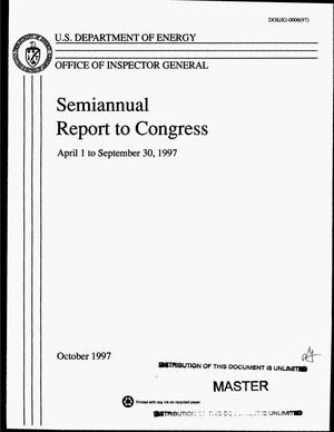 Primary view of object titled 'Office of Inspector General semiannual report to Congress: April 1 to September 30, 1997'.