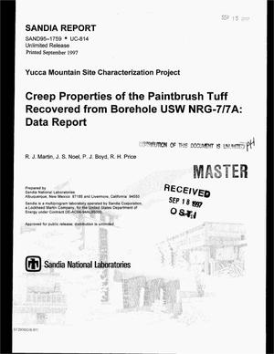 Primary view of object titled 'Creep properties of the Paintbrush tuff recovered from borehole USW NRG-7/7A: Data report'.