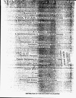 Primary view of object titled 'Radiative properties of char, fly-ash, and soot particles in coal flames. Technical progress report, second year, October 1994--December 1994'.