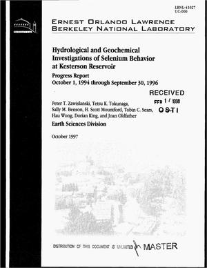 Primary view of object titled 'Hydrological and geochemical investigations of selenium behavior at Kesterson Reservoir. Progress report, October 1, 1994--September 30, 1996'.