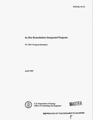 Primary view of object titled 'In Situ Remediation Integrated Program: FY 1994 program summary'.