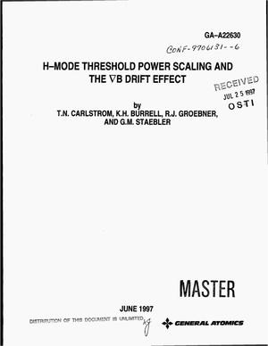 Primary view of object titled 'H-mode threshold power scaling and the {gradient}B drift effect'.