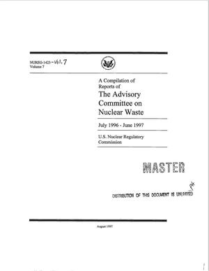 Primary view of object titled 'A compilation of reports of the Advisory Committee on nuclear waste, July 1996--June 1997'.
