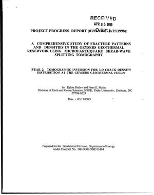 Primary view of object titled 'A comprehensive study of fracture patterns and densities in the Geysers geothermal reservoir using microearthquake shear-wave splitting tomography. [Quarterly progress report 03/16/1998 - 06/15/1998]'.
