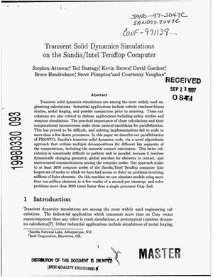Primary view of object titled 'Transient Solid Dynamics Simulations on the Sandia/Intel Teraflop Computer'.