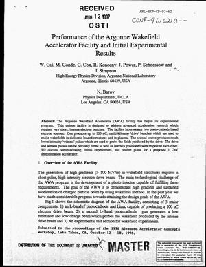 Primary view of object titled 'Performance of the Argonne Wakefield Accelerator facility and initial experimental results'.