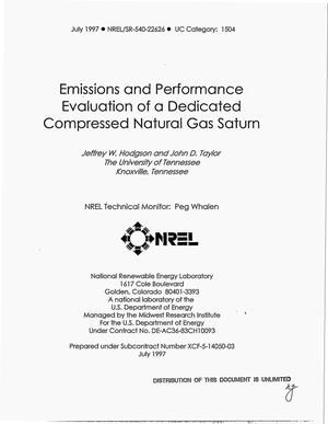 Primary view of object titled 'Emissions and performance evaluation of a dedicated compressed natural gas saturn'.