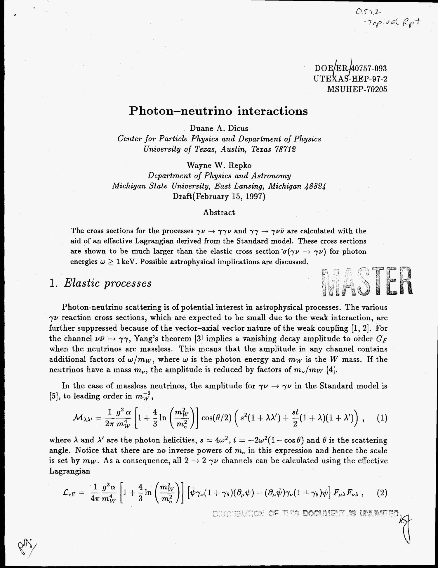 Photon-neutrino interactions                                                                                                      [Sequence #]: 1 of 7